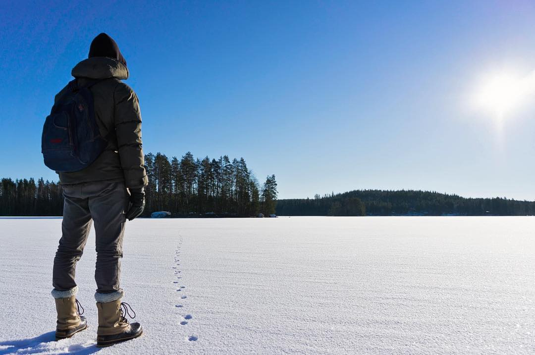 Winter hiking on the lake.